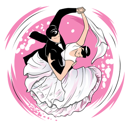 smoothness: Dancers carry out a waltz on a pink background