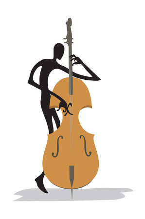 Virtuoso contrabass player on white background