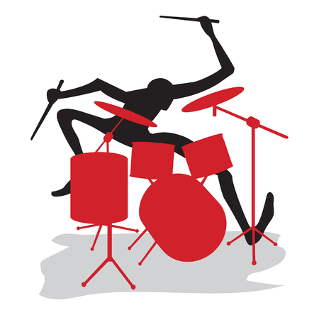 Een drummer voert een solo op drums Vector Illustratie