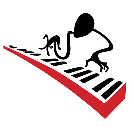 solo: Piano player carries out a solo on piano