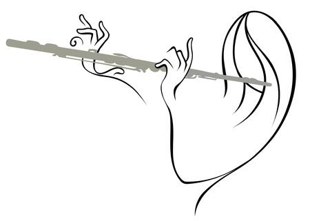 白い背景の上の優雅なフルート奏者