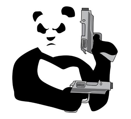 Panda with guns on white background 일러스트