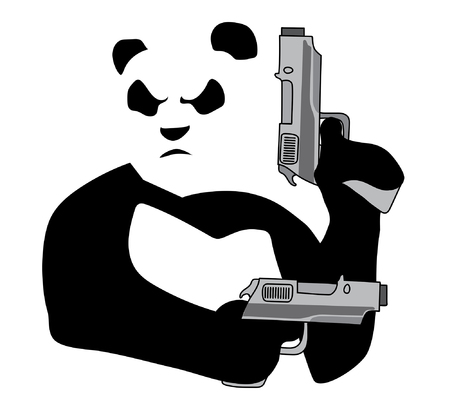 Panda with guns on white background Vectores