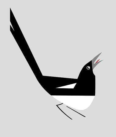 cunning: Minimalism image of magpie on a gray background Illustration
