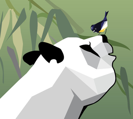 Friendship of panda and birdie Illustration