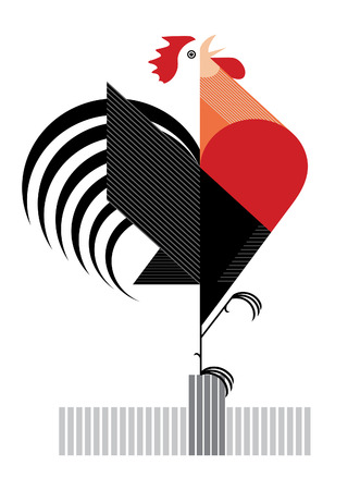 impression: Red Flamy rooster is symbol of 2017 year