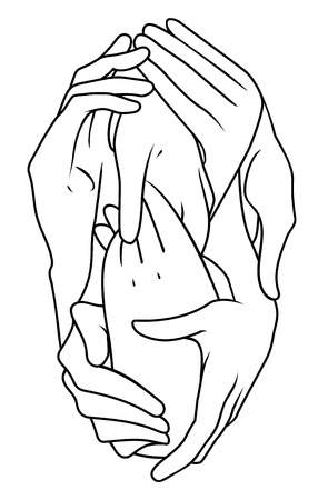 closely: Closely interlaced hands in different positions as a symbol of unity Illustration