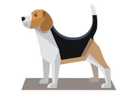Beagle imagen minimalista sobre un fondo blanco