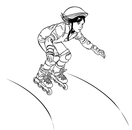 Girl-roller skates from the hill, outline style Illustration