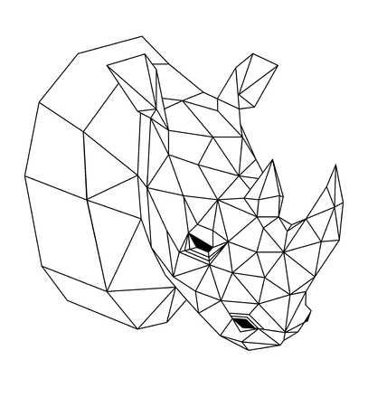 Geometric rhinoceros on white background
