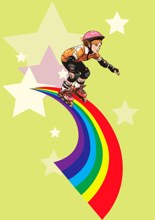 A roller-girl rushes along the rainbow on stars background Illustration