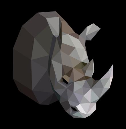 Geometric colored rhinoceros on black background