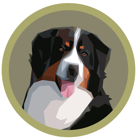 Portrait of a Bernese mountain dog in a geometric style