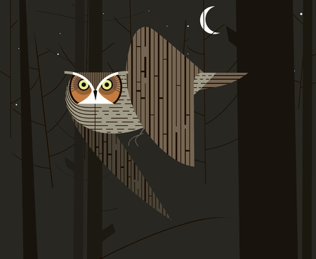 Owl hunts in the night forest on dark background Illustration