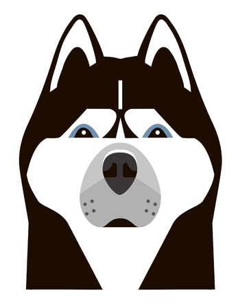 Portrait of a Husky in a minimalist style on white background Illustration