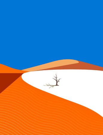 Lonely tree in the desert on dune background Ilustração
