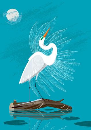 Grande aigrette blanche se tient sur une bûche sur le fond du ciel nocturne Banque d'images - 85568624