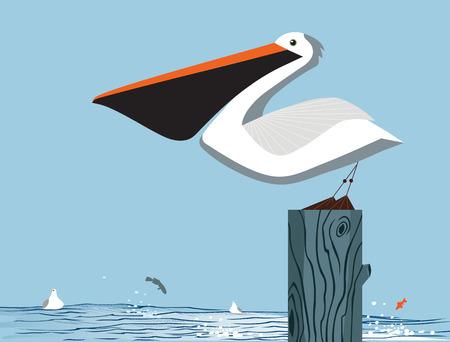 Pelican stoi na kolumnie na tle morza i nieba