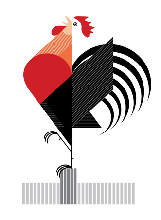 Red Flamy Cock is symbol of 2017 year Illustration