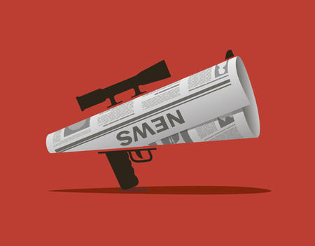 The newspaper in the form of a horn with a sniper design.  イラスト・ベクター素材