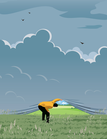 The man pushes the horizons to see new perspectives Illustration