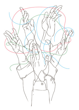 Gesticulation in conversation - different positions of hands connected by one theme.