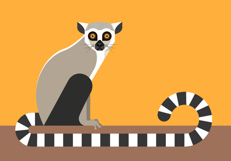 Sitting lemur, minimalist style.