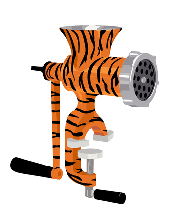 Manual meat grinder in the tiger coloring.