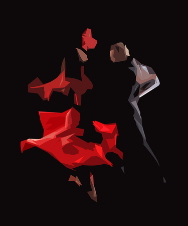 The stylized image of dancers who perform tango, geometric abstract drawing