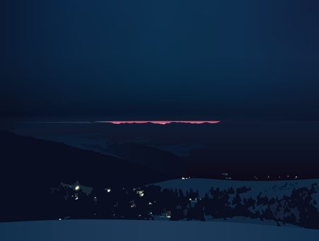 Dawn in the mountains, scarlet strip on a dark sky, vector illustration.