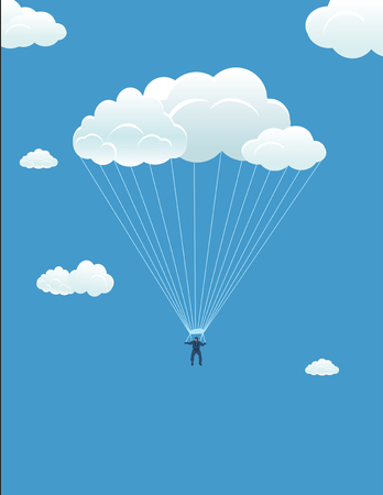 In harmony with the sky: the parachutist descends on the cloud Illustration