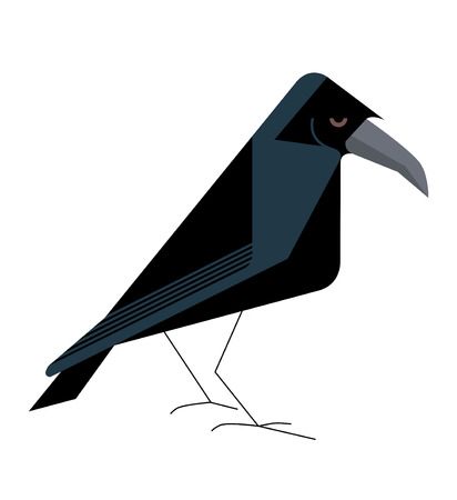 Old wise raven, minimalistic image on a white background