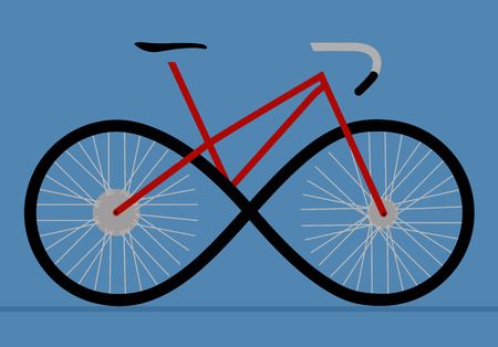 The sign of a bicycle as an infinity forward movement, a sigil of movement, development, a bicycle road. Ilustração