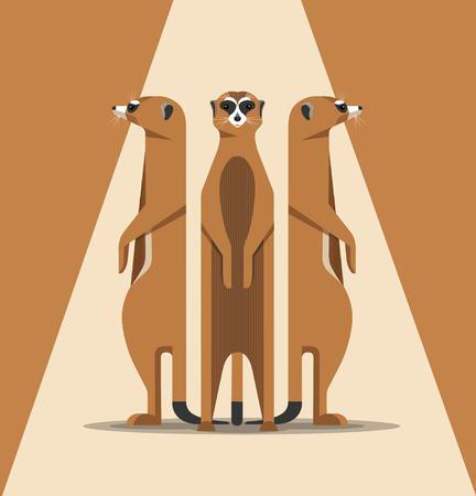세 마리의 미어캣은 햇볕에 몸을 담그고 뒷다리에 서서 조심스럽게 둘러보고 미니멀리스트 일러스트레이션 일러스트