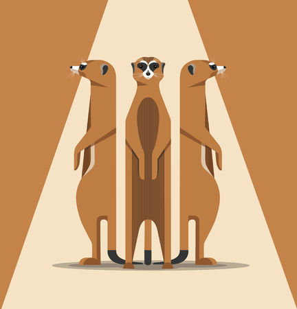Three meerkats bask in the sun, standing on their hind legs and looking carefully around, a minimalist illustration Stock Vector - 98586009