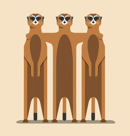 Group of meerkats illustration on a brown background