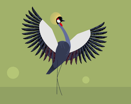 Crested crane on a green background Banco de Imagens - 99513680