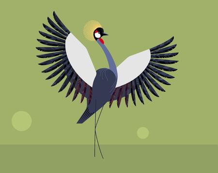 Crested crane on a green background Illustration