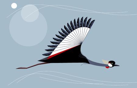 Crowned crane flies on sky background, minimalist style