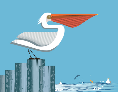 Majestic pelican stands on a column on the sea and sky background Illustration