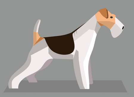 Fox Terrier minimalist image on a gray background Illustration
