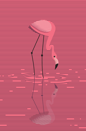 Elegant pink flamingo stands in water on a pink sunset background, vector, minimalistic image
