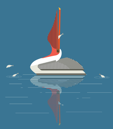 Pelican catches fish in the lake, vector