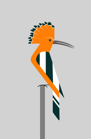 Orange hoopoe sits on a branch with an unfolded crest, minimalism Ilustração