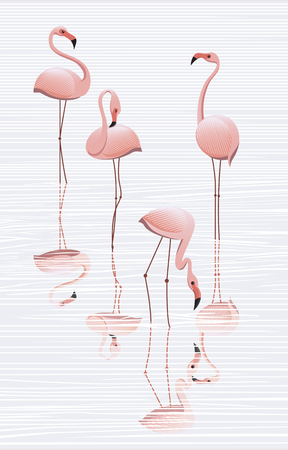 Flock of flamingos in the water, minimalistic image Banco de Imagens - 104182450