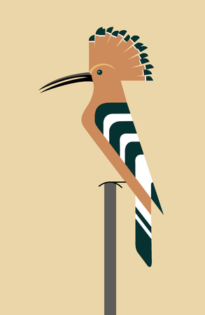 Orange hoopoe sits on a branch with an unfolded crest, minimalism Illustration