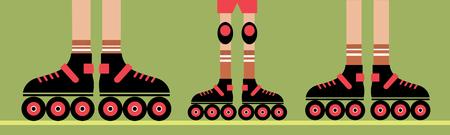 Rollers - family sport, family hobby Illustration