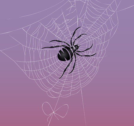 Abstract image of spider on a background evening sky or people must store wild nature for future generations Illustration