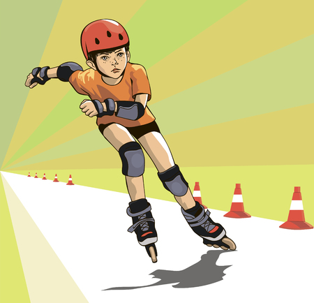 A boy in an orange T-shirt on rollers runs the distance of a skatecross