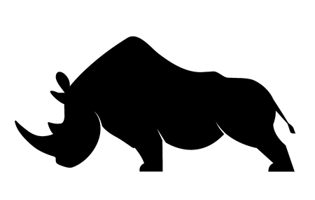 Silhouette of a rhino in a threatening position on a white background